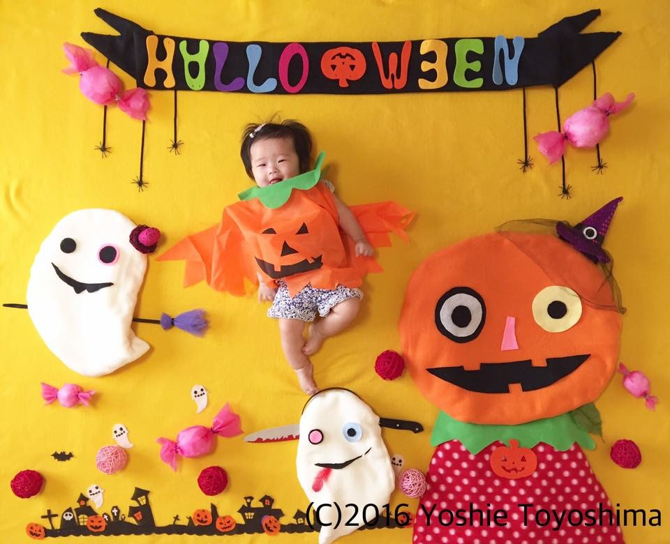 おひるねアート ハロウィン かぼちゃ