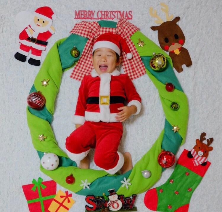 お昼寝アート クリスマス おひるねアート クリスマスリース サンタクロース
