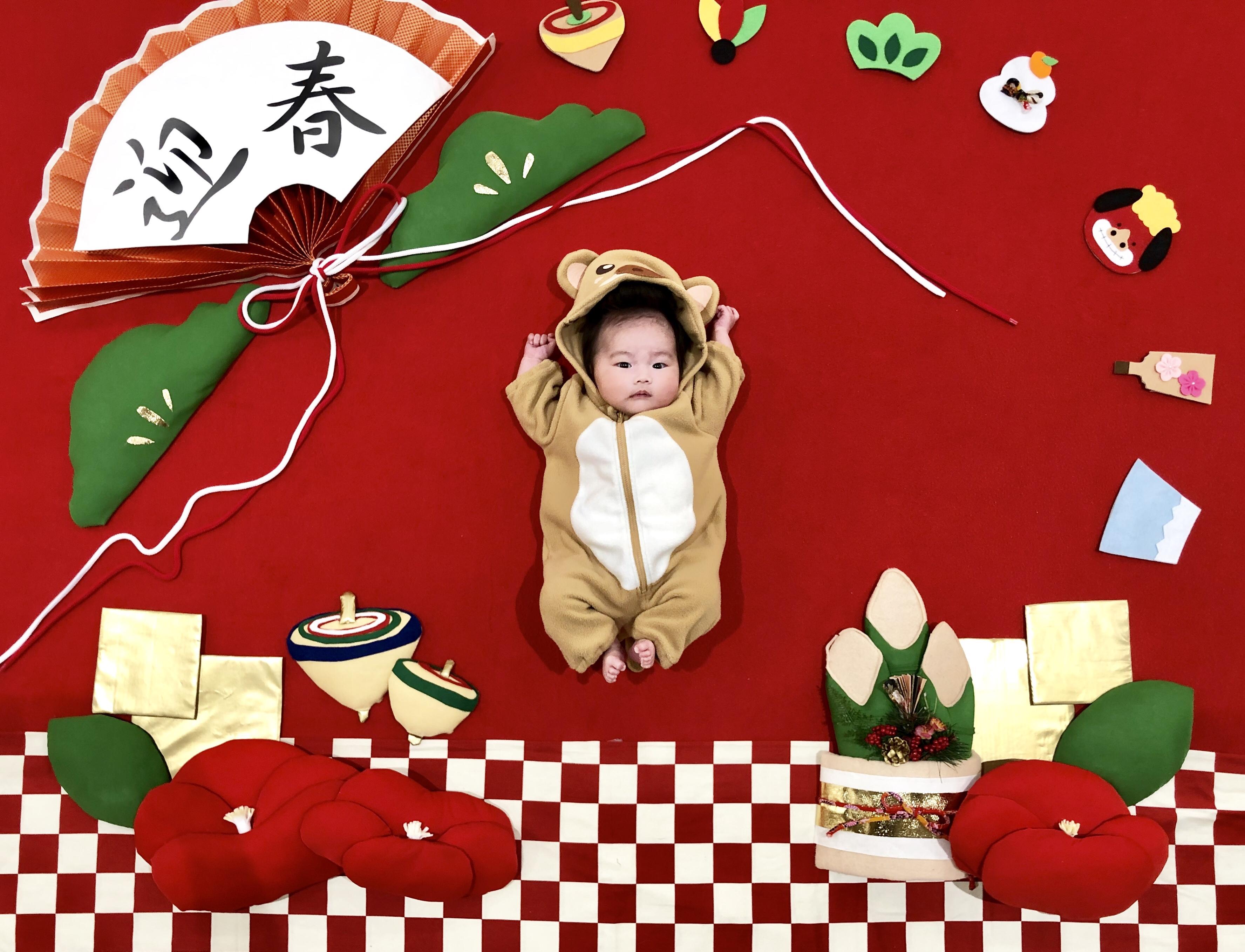 お正月 おひるねアート 亥 赤ちゃん