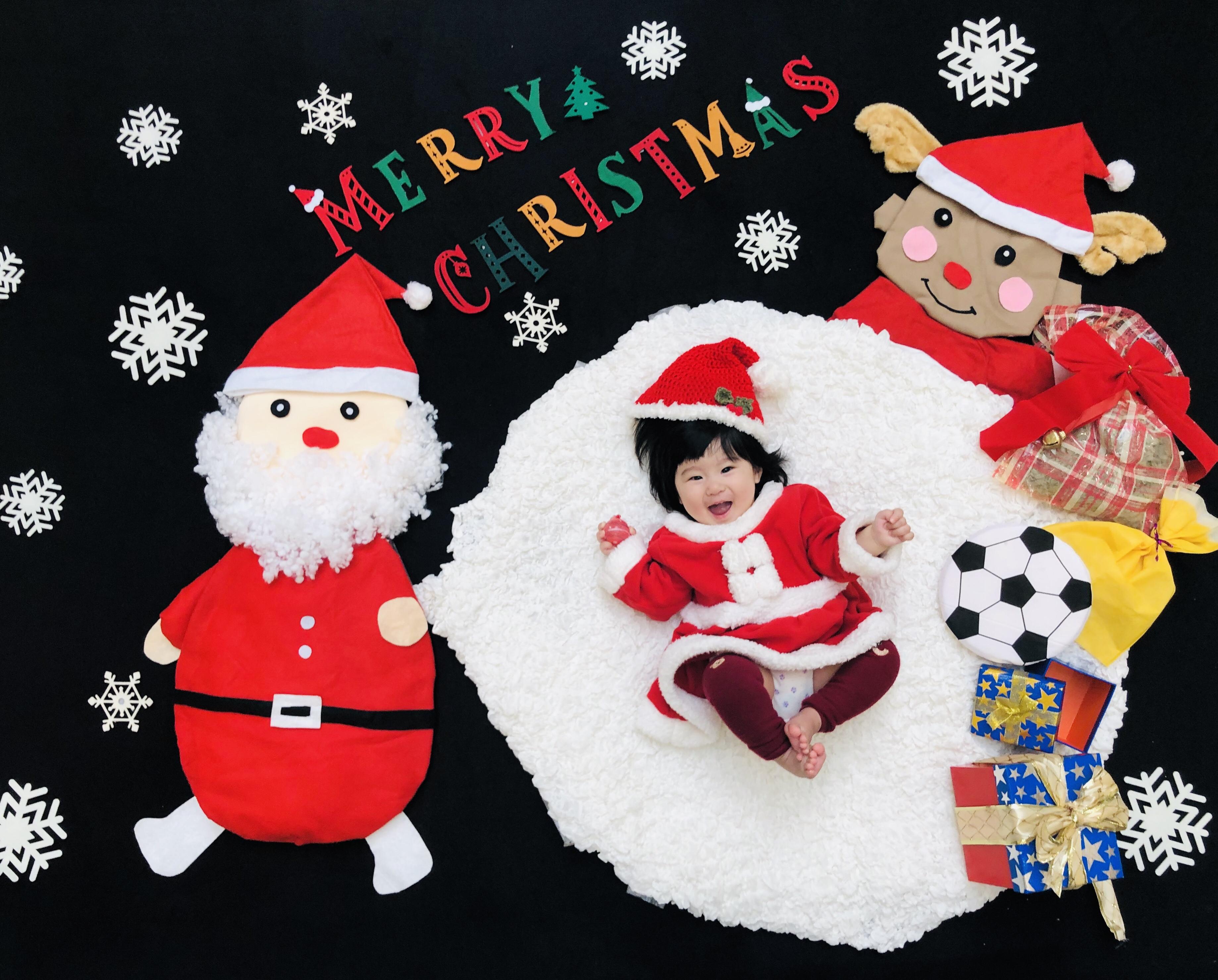 おひるねアート クリスマス サンタクロース トナカイ
