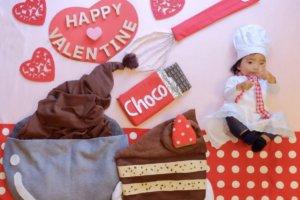 おひるねアート バレンタイン 僕のおひるねアート チョコレートケーキ