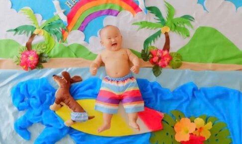 おひるねアート 夏 サーフィン 海