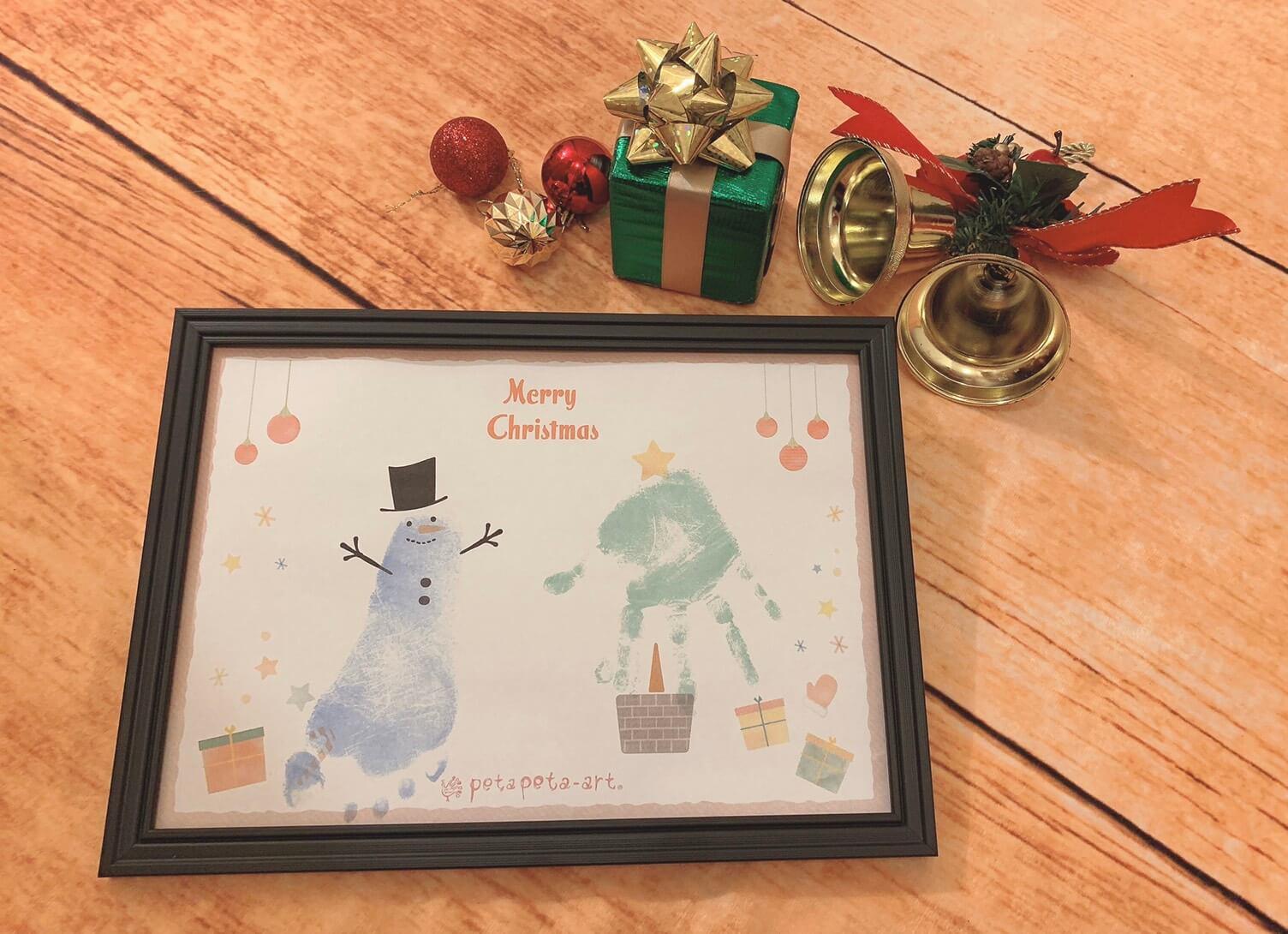 ペタペタアート クリスマス 手形足形アート 赤ちゃん思い出